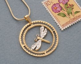 "Dragonfly Pendant and Necklace, Hand Cut Dragonfly Medallion, 14 Karat and Rhodium Plated, 1 1/8"" in Diameter, ( # 890 )"