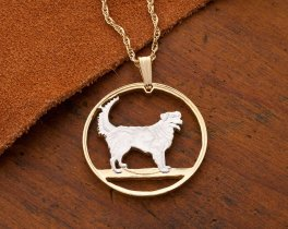 "Duck Tolling Retriever dog Pendant and  Necklace, Hand cut Canadian 50 cents coin, 14 K and Rhodium Plated, 1"" in Diameter, ( # 613 )"