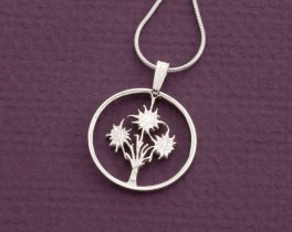 "Edelweiss Pendant and Necklace, Hand cut Austrian one shilling Edelweiss coin, Flower Jewelry, 3/4"" in diameter, ( # 11S )"