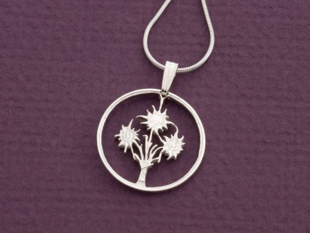 """Edelweiss Pendant and Necklace, Hand cut Austrian one shilling Edelweiss coin, Flower Jewelry, 3/4"""" in diameter, ( # 11S )"""