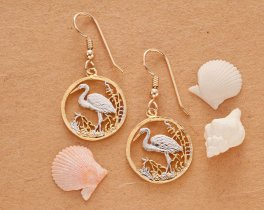 "Egret  Earrings,Russian 50 Roubles Egret coin hand cut,14 Karat Gold and Rhodium plated,14 K G/F Fill Ear Wires,3/4"" in Diameter,(# 804BE )"