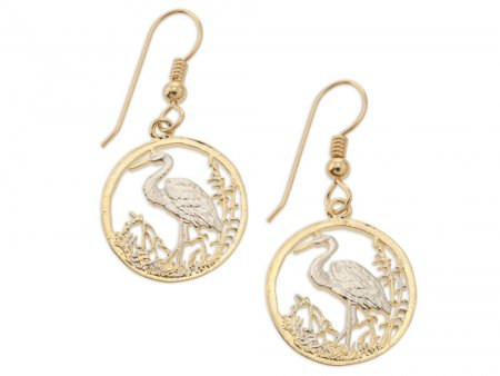 """Egret  Earrings,Russian 50 Roubles Egret coin hand cut,14 Karat Gold and Rhodium plated,14 K G/F Fill Ear Wires,3/4"""" in Diameter,(# 804BE )"""