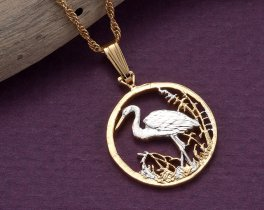 Egret Pendant, Egret Necklace, Tropical Bird Jewelry, Wildbird Jewelry, Womans Necklace, Jewelry For Woman, Bird Coin Jewelry, ( # 804B )