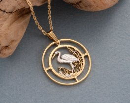"Egret Pendant & Necklace, Russia 50 Rubles Coin Hand Cut, 14 Karat Gold and Rhodium PLated, 1"" in Diameter , ( # 804 )"