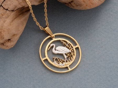 """Egret Pendant & Necklace, Russia 50 Rubles Coin Hand Cut, 14 Karat Gold and Rhodium PLated, 1"""" in Diameter , ( # 804 )"""