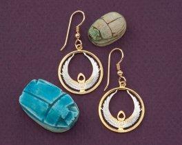 Egyptian Earrings, Egyptian Coin Jewelry, Eternal Life Earrings, Coin Jewelry, Egyptology, Gifts For Her, Earrings For Woman, ( # 873E )