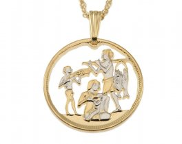 "Egyptian Jewelry Pendant and Necklace, Egypt 10 Mils coin hand cut, 14 Karat Gold and Rhodium plated, 7/8 "" in Diameter ( # 90 )"