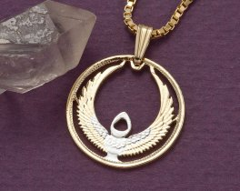 "Egyptian Jewelry Pendant and Necklace, Egyptian 10 Piastres coin hand cut, 14 Karat Gold and Rhodium plated, 7/8"" in Diameter, ( # 873 )"