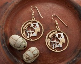 """Egyptian Nefertiti Earrings, Egyptian Five Piastres Coin Hand Cut, 14 Karat Gold and Rhodium plated, 1"""" in Diameter, ( # 91E )"""