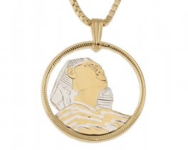 "Egyptian Sphinx Pendant and Necklace, Egyptian 10 Piastres Coin Hand Cut, 14 Karat Gold and Rhodium Plated, 1"" in Diameter, ( # 94 )"
