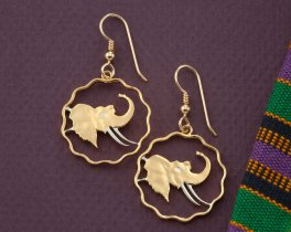Elephant Earrings, Elephant Jewelry, African Wildlife Jewelry, Wild Life Gifts, Earrings For Woman, Jewelry For Woman, Coin Jewelry, (#291E)