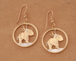 Elephant Earrings, Elephant Jewelry, Wildlife Earrings, Elephant Coin Jewelry, Liberia Coin Jewelry, Womans Earrings, Coin Jewelry, # 376E