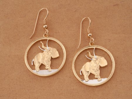 Elephant Earrings, Elephant Jewelry, Wildlife Earrings, Elephant Coin Jewelry, Liberia Coin Jewelry, Womans Earrings, Coin Jewelry, # 376E