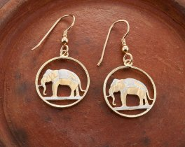 "Elephant Earrings, Hand Cut Thailand Elephant Coins, Elephant Jewelry, Elephant Earrings, 3/4"" in Diameter, ( # 297E )"