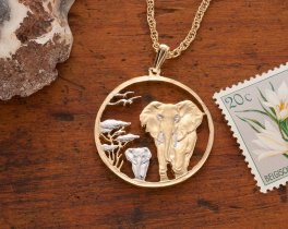 """Elephant Pendant, African Wild Life Jewelry, Hand Cut Elephant Coin Pendant, Elephant Jewelry ,1 1/8"""" in Diameter, ( # 945 )"""