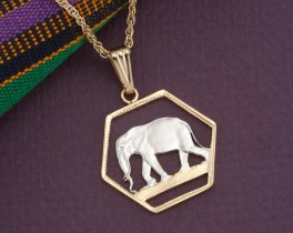 "Elephant Pendant, Elephant Jewelry, African Wild Life Jewelry, Elephant Necklace, World Coin Jewelry, 1"" in diameter ( #306D )"