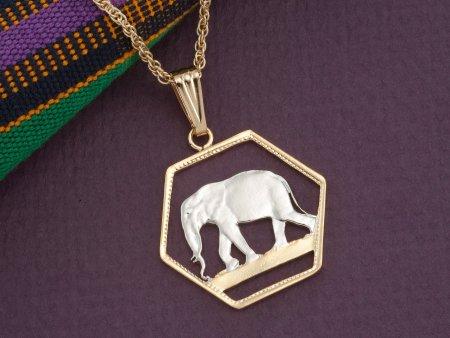"Elephant Pendant, Elephant Jewelry, African Wild Life Jewelry, Elephant Necklace, World Coin Jewelry, 1"" in diameter ( #306D )"