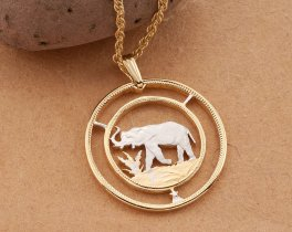 "Elephant Pendant, Elephant Jewelry, African Wild Life Jewelry, World Coin Jewelry, Elephant Gifts, 1 1/8"" in diameter, ( # 226D )"