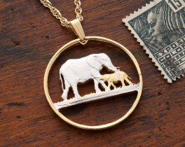 Elephant Pendant & Necklace, Malawi One Florin Coin Hand Cut, ( # 232 )