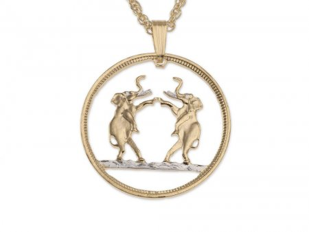 Elephant Pendant & Necklace, Rhodesia One Penny Hand Cut, ( # 267 )