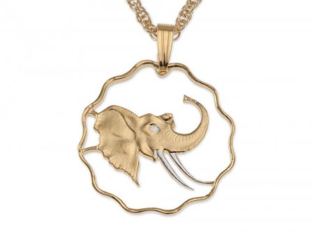 Elephant Pendant & Necklace, Swaziland Coin Hand Cut, ( # 291 )