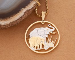 Elephant Pendant & Necklace, Zambia Coin Hand Cut African Wildlife, ( # 895 )