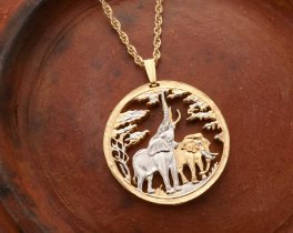 Elephant Pendant & Necklace, Zambia Coin Hand Cut Elephant Jewelry, ( # 862 )