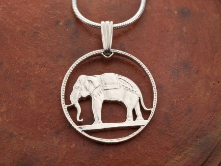 Elephant Pendant, Thailand Necklace, Coin Jewelry, Jewelry For Woman, Wildlife Jewelry, Pendant Necklace, Sterling Silver Jewelry,  # 297S