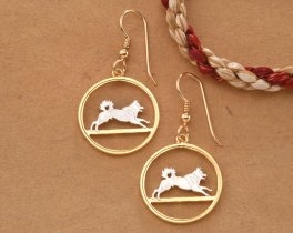 Elk Hound Earrings, Norwegian Gifts, Coin Jewelry, Canine Jewelry, Dog Earrings, Dog Jewelry, Gifts For Woman, Dog Lovers Gifts, ( # 578E )