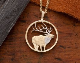 "Elk Pendant and Necklace, Elk Wild Life Medallion Hand Cut, 14 Karat Gold and Rhodium Plated, 1 1/4"" in Diameter, ( # 915 )"
