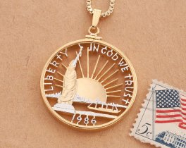 "Ellis Island Pendant, hand cut 1986 United States half dollar, Patriotic Jewelry, United States Coin Jewelry, 1 1/4"" diameter, ( # SLW )"