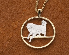 Eskimo Dog ( Husky ) Pendant and Necklace, Dog Jewelry, Canada 50 cents Hand Cut Coin, 14 Karat Gold and Rhodium plated, ( # 616 )