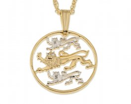"Estonia Pendant and Necklace Jewelry, Estonia Two Senti Coin Hand Cut, 14 Karat Gold and Rhodium plated, 3/4"" in diameter, ( # 97 )"