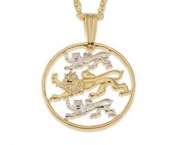 "Estonia Pendant and Necklace Jewelry, Estonia Two Senti Coin Hand Cut, 14 Karat Gold and Rhodium plated, 3/4"" in diameter, ( # 97 )"