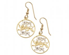 "Estonian Coin Earrings, Estonian 2 Senti Coin Hand Cut, 14 Karat Gold and Rhodium plated, 3/4"" in Diameter, ( # 97E )"