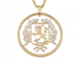 "Finland fighting Lion Pendant and Necklace, Finland 20 Marrkka Coin hand Cut, 14 Karat Gold and Rhodium plated,1 1/8"" in Diameter, ( # 103 )"