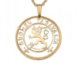 "Finland Lion Pendant and Necklace Jewelry, Finland 20 Marrkka Coin Hand Cut, 14 Karat Gold and Rhodium plated, 1"" in Diameter, ( # 102 )"
