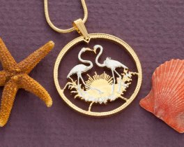 "Flamingo Pendant and Necklace, Hand Cut Bahamas 50 Dollar Coin, Flamingo Jewelry, 1 1/8"" in Diameter, ( # 506 )"