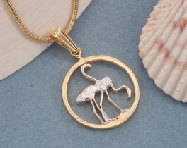 Flamingo Pendant, Flamingo Jewelry, Tropical Jewelry, Tropical Necklace, Bird Jewelry, Cut Coin Jewelry, Coin Pendant, Bird Gifts ( # 675B )