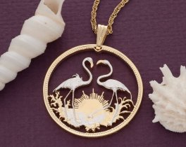 Flamingo Pendent and Necklace, Bahamas Coin Jewelry, Ethnic Jewelry, Hand Cut Coins, Coin Jewelry, Tropical Jewelry, Bird Jewelry,  ( # 14 )