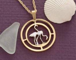 "Flamingos Pendant & Necklace, Russia 50 Rubles Coin Hand Cut, 14 K and Rhodium Plated, 1"" in Diameter, ( # 675 )"