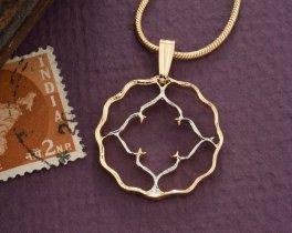Floral Pendant, Womans Necklace, Womans Necklace, India Coin Jewelry, India Coin Necklace, Jewelry For Woman, Cut Coin Jewelry, ( # 829 )