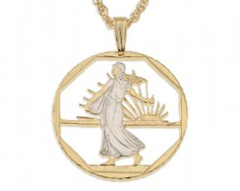 "French Coin Pendant and Necklace, France 2 Frank Coin Hand Cut, 14 Karat Gold and Rhodium Plated, 1"" in Diameter, ( # 108 )"