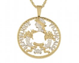 """French Coin Pendant and Necklace, France Five Cents Coin Hand Cut, 14 Karat Gold and Rhodium Plated, 7/8"""" in Diameter, ( # 798 )"""