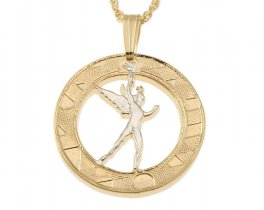 "French Coin Pendant and Necklace, French 10 Frank Coin Hand Cut, 14 Karat Gold and Rhodium Plated, 7/8"" in Diameter, ( # 107 )"