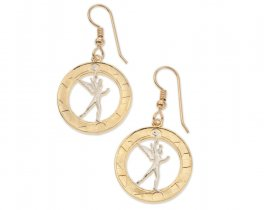 "French ( Spirit Of Bastile ) Earrings, French 10 Franc Coin Hand Cut, 14 Karat Gold and Rhodium plated, 7/8"" in Diameter, ( # 107E )"