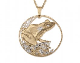 "Frog Pendant and Necklace Jewelry, Fiji Frog Coin Hand Cut, 14 Karat Gold and Rhodium Plated, 1 1/4 "" In Diameter, ( # 571 )"