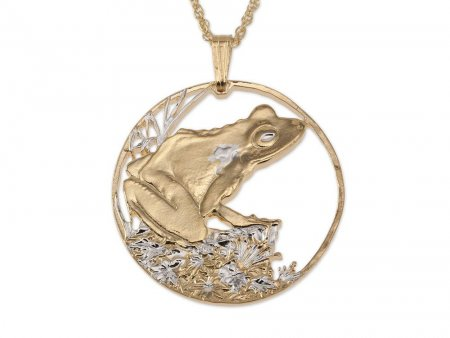 """Frog Pendant and Necklace Jewelry, Fiji Frog Coin Hand Cut, 14 Karat Gold and Rhodium Plated, 1 1/4 """" In Diameter, ( # 571 )"""
