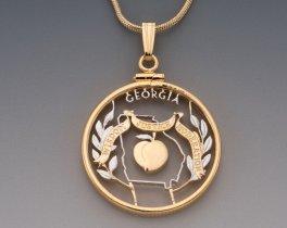 "Georgia Peach Pendant, United States Georgia State Quarter Hand Cut, 14 Karat Gold and Rhodium Plated, 1"" in Diameter, ( # 2001 )"