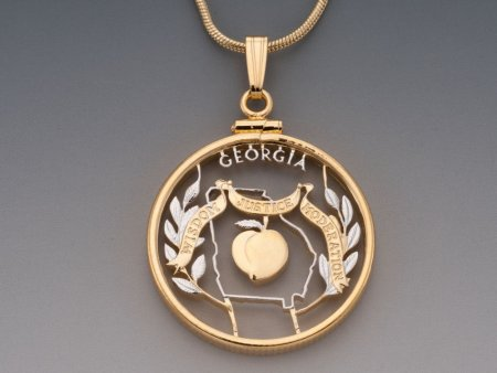 "Georgia Peach Pendant, United States Georgia State Quarter Hand Cut, 14 Karat Gold and Rhodium Plated, 1"" in Diameter, ( # 2001 )"